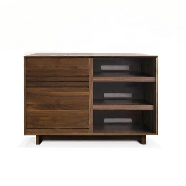 AERO 51 LP Storage Console made from North American hardwood. Features a flip-style record storage bin with room for 120 LPs. The right side drawers have room for 3 pieces of hi-fi audio equipment as well as a top shelf. It features a Walnut finish.