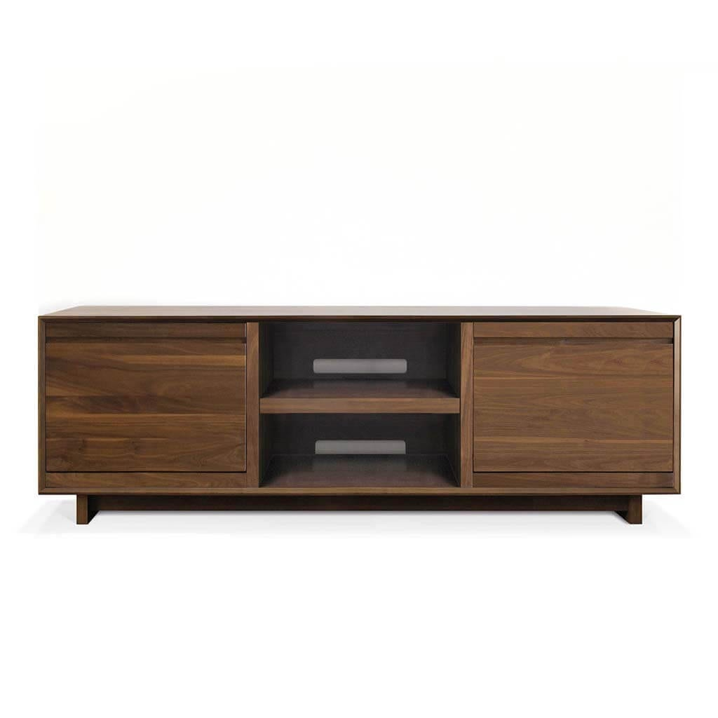 AERO 76 LP Shelves made from North American hardwood. Features 2 flip-style record storage bins with room for 120 LPs. Middle shelf includes space for two hi-fi audio equipment consoles or a turntable.
