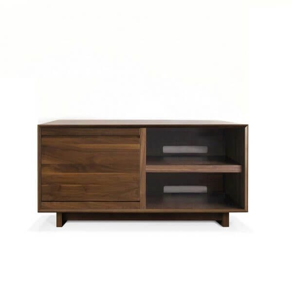 AERO 51 LP Storage Console made from North American hardwood. Features a flip-style record storage bins with room for 120 LPs. The right side drawers have room for hi-fi audio equipment. It features a Walnut finish.