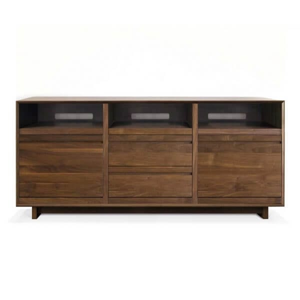 AERO 76 LP Shelves made from North American hardwood. Features 3 dovetail drawer boxes for DVD or CD storage and 3 flip-style record storage bin with room for 120 LPs.