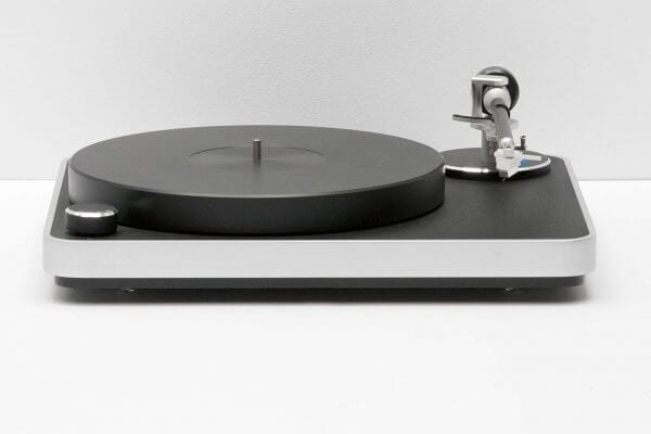 Clearaudio Concept Turntable slick black-themed viewed from the front. Includes 2-piece 30mm-thick POM platter and stands at 16.5 inches tall and 5.5 inches wide.