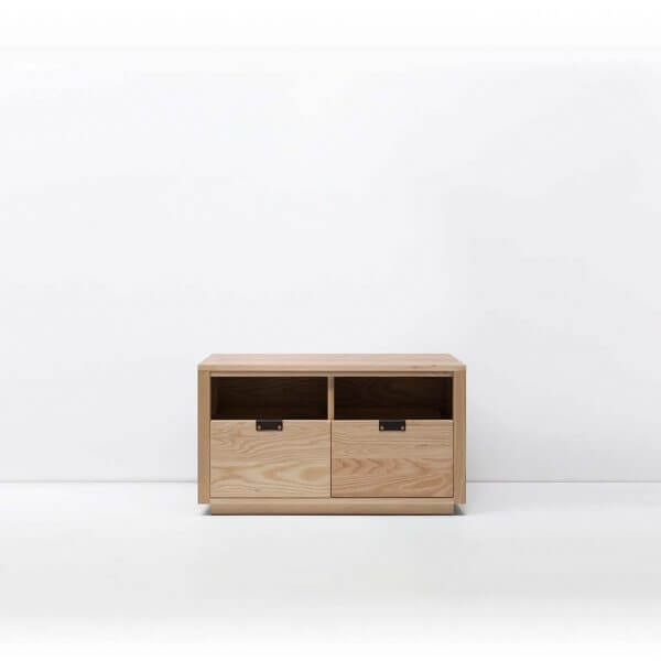 Dovetail Vinyl Storage Cabinet 2x1 with room for 180 records in premium North American hardwood construction. Includes light ash wood finish, soft-close under-mount drawers slides, and tanned leather handles.