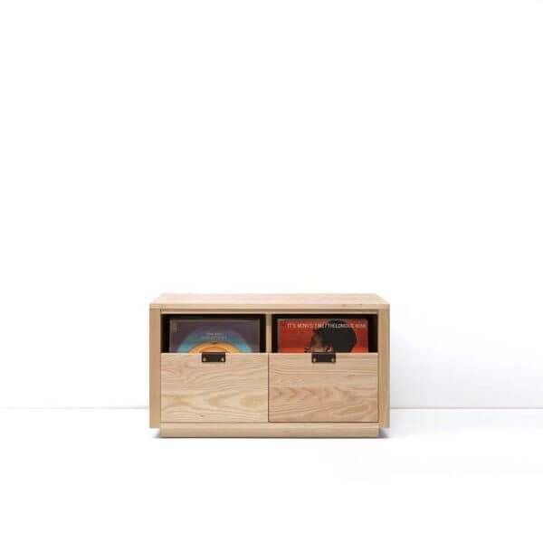 Dovetail Vinyl Storage Cabinet 2x1 displaying 180 records constructed with premium North American hardwoods. Includes light ash wood finish, soft-close under-mount drawers slides, and tanned leather handles.