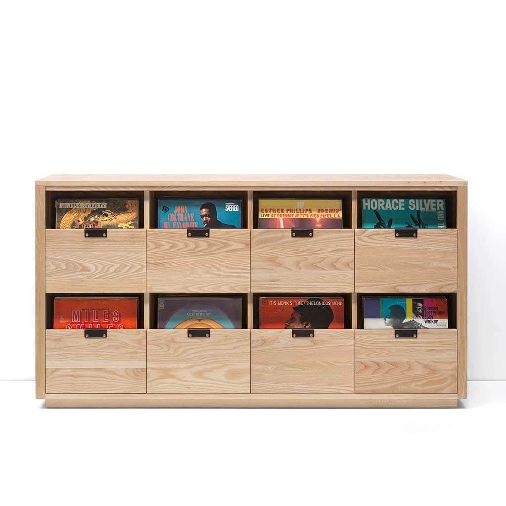 Dovetail Vinyl Storage Cabinet 4x2 displaying 720 records constructed with premium North American hardwoods. Includes light ash wood finish, soft-close under-mount drawers slides, and tanned leather handles.