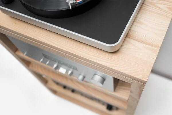 Dovetail Audio Rack and collection of hi-fi audio equipment and Modern Record Player.