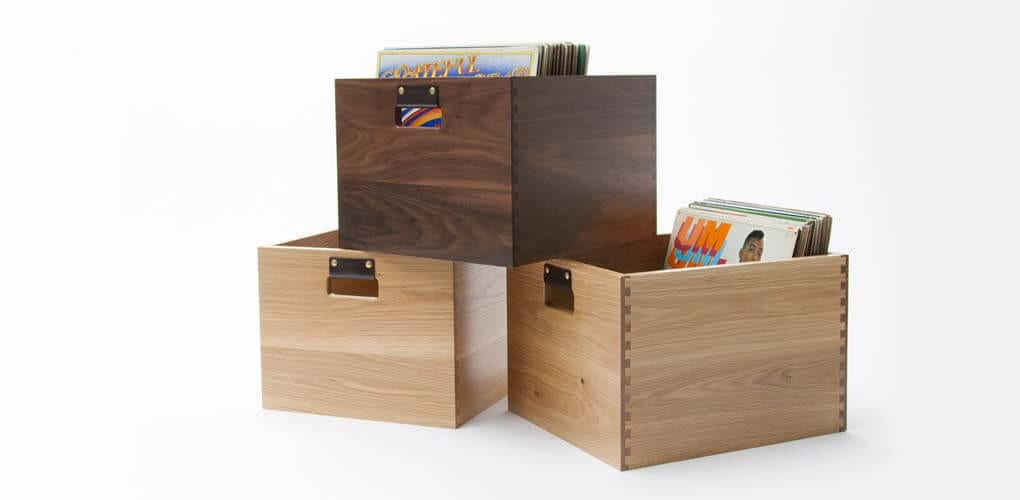 Dovetail Record Crate light and dark themed LP storage cabinets stacked on top of each other.