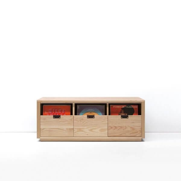 Dovetail Vinyl Storage Cabinet 3x1 displaying 270 records constructed with premium North American hardwoods. Includes light ash wood finish, soft-close under-mount drawers slides, and tanned leather handles.