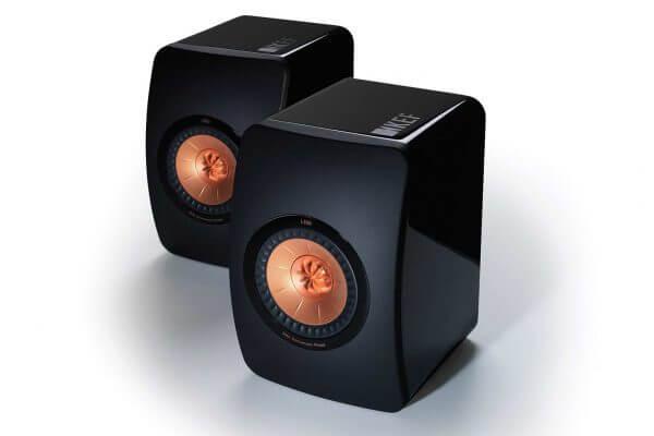 KEF LS50 Wireless black front pair power speakers.