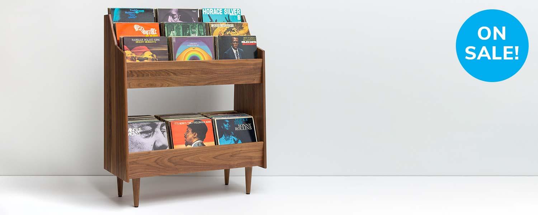 Luxe Mid-Century Modern Vinyl Storage Cabinet Sale