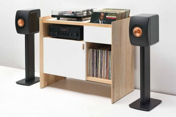 Symbol Audio Preferred Turntable Package displayed on a light white Unison Record Stand.