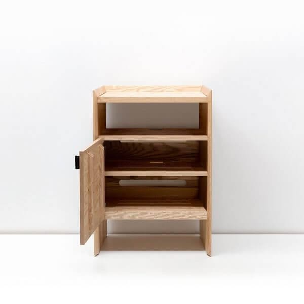 Unison Walnut Record Stand with flip-style LP storage bins, vibration isolated record player platform, and audio cabinet room for hi-fi sound equipment. Features a light ash wood finish.