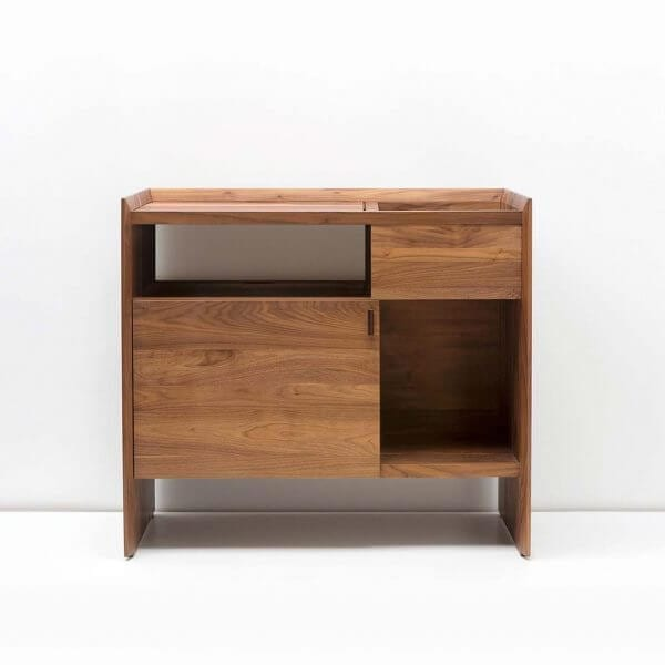 Unison Record Storage Stand with flip-style LP storage bins, vibration isolated record player platform, and audio cabinet room for hi-fi sound equipment with a dark walnut finish. Crafted from premium North American hardwoods and displayed with empty storage spots.