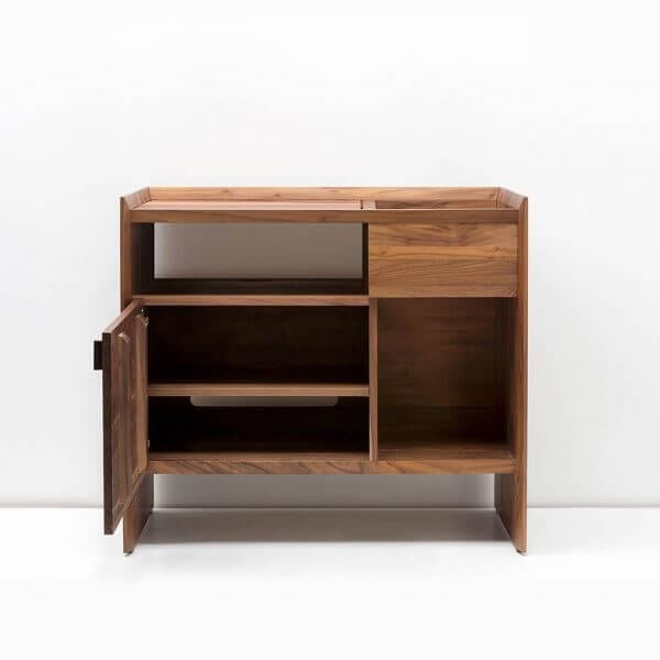 Unison Record Storage Stand with flip-style LP storage bins, vibration isolated record player platform, and audio cabinet room for hi-fi sound equipment with a dark walnut finish. Crafted from premium North American hardwoods and displayed with open drawers and empty storage spots.
